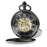 Steampunk Hunter Itemstoday doppio e carica a mano, stile orologio da taschino da uomo