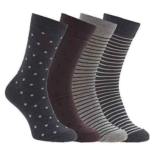Jack & Jones 4-er Set Socken Dunkelblau, Bordeaux und Grau mit Muster Größe 41-46