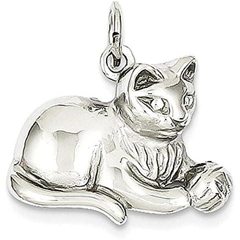 14k oro bianco con diamanti a taglio raso Open-Backed Cat Charm