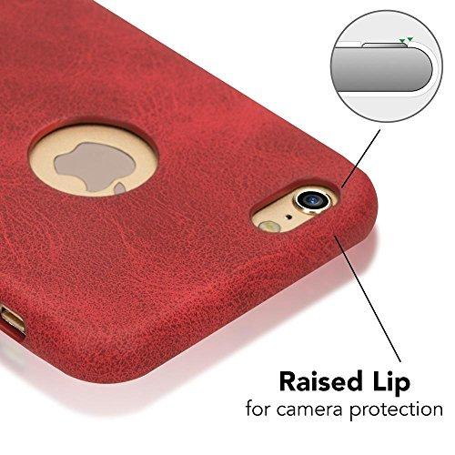 iPhone 6 6S Kunstleder Hülle von NICA, stoßfeste Schutzhülle Case, Dünne Handyhülle Handy-Tasche, Soft-Cover Slim Backcover Phone Etui Matt Bumper für Apple i-Phone 6S 6 Smartphone, Farbe:Rot Rot