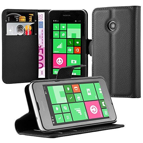 Cadorabo Hülle für Nokia Lumia 530 Hülle in Phantom schwarz Handyhülle mit Kartenfach und Standfunktion Case Cover Schutzhülle Etui Tasche Book Klapp Style Phantom-Schwarz