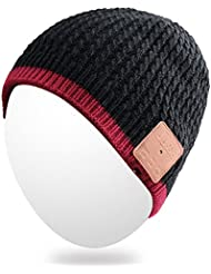 Beanie qshell invierno Bluetooth del casquillo del sombrero de punto caliente suave con el auricular inalámbrico con Bluetooth para auriculares estéreo de micrófono altavoz de manos libres para el deporte al aire libre, compatible con celulares Iphone Android - Negro
