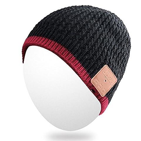 Qshell hiver Bluetooth Bonnet chaud doux Knit Cap avec casque sans fil casque écouteur stéréo microphone haut-parleur mains libres pour le sport en plein air, Compatible avec Iphone Android Téléphones Portables -