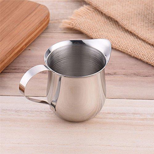asentechuk®–Taza de Espresso de acero inoxidable jarra para espuma de leche latte Art taza jarra, acero inoxidable, Plateado, 90ml / 3oz