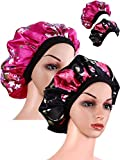 2 Pieces Wide Band Satin Cap Sleep Bonnet Soft Night Sleep Hat Women Girls (Black and Rose red)
