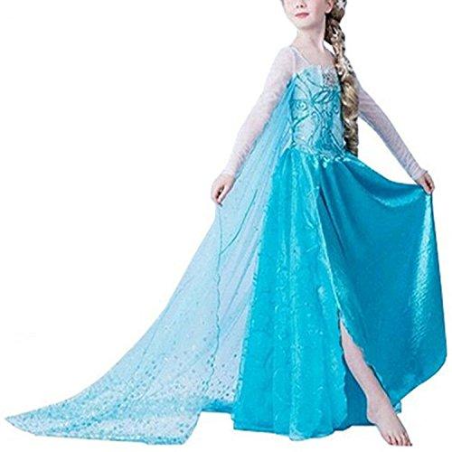 inzessin Kostüm Kinder Glanz Kleid Mädchen Weihnachten Verkleidung Karneval Party Halloween Fest 120 (Halloween-kostüme Elsa Frozen)