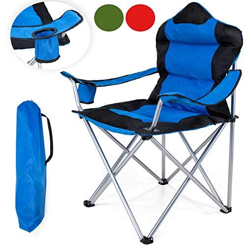 TRESKO Campingstuhl faltbar bis 150 kg | Angelstuhl Faltstuhl Klappstuhl mit Armlehnen und Getränkehalter (Blau) - Klapp Strand Camping Stuhl