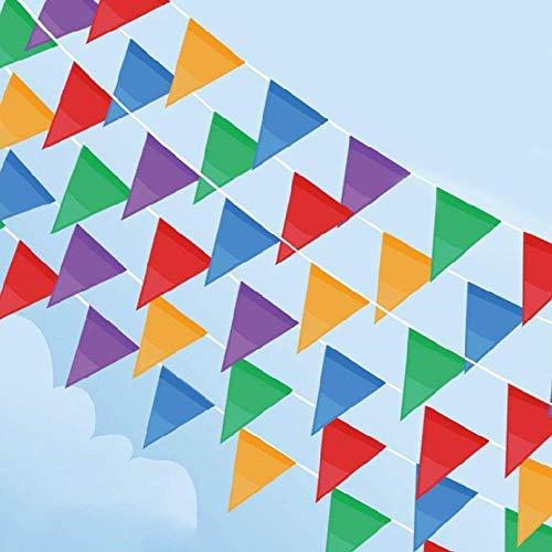 Cookey 200 Pcs Multicolor Bandera Banderín, 100M Nylon Tela Decoraciones Banderas Para...