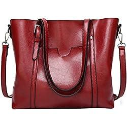 Ms. Yy.f Handtaschen Handtaschen Mode Ms. Ölwachs Leder-Handtasche Neue Umhängetasche Großhandel Neue Umhängetasche Mehrfarben-,Red-32*12*29cm