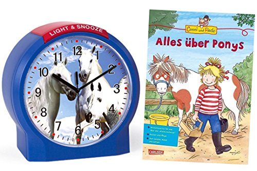 Kinderwecker Ohne Ticken Pferde mit Lernbuch Conni Buch Alles über Ponys - 1189/5 BU