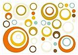 I-love-Wandtattoo WAS-10149 Retro Wandtattoo Set Retro Dots in Orange, Mint und Gelb 40 Stk Wandsticker Wandaufkleber Sticker Wanddeko