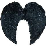 Accessoire d'ange gardien pour adulte avec cette paire d'ailes en plumes noires. Idéal pour les enterrements de vie de garçon ou de jeune fille.