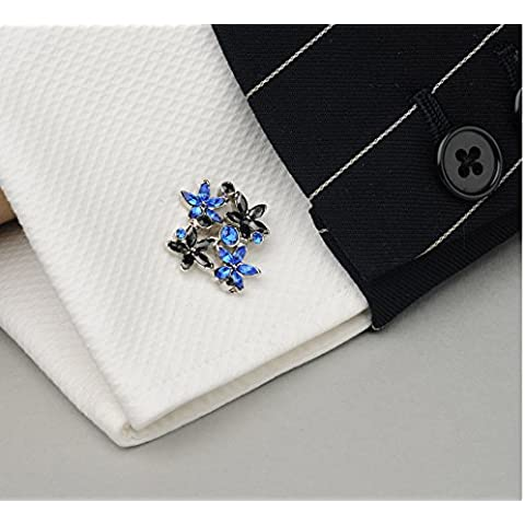 The Original Mezzi Swarovski placcato argento, con cristalli austriaci, Men's Cuff-Daddy-Gemelli di design con finitura in nero, colore: blu - Blu Placcato Gemelli