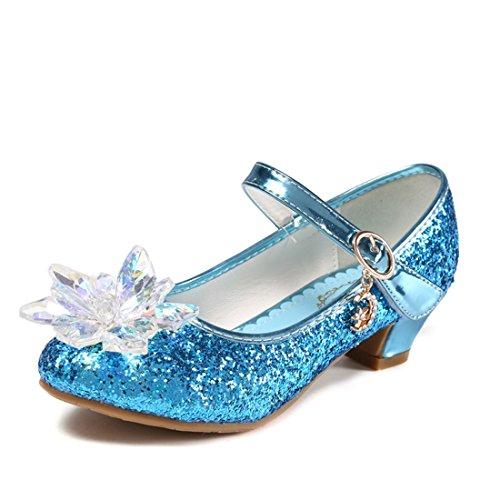 O&N Prinzessin Schuhe mit Absatz Mädchen Ballerina Schuhe Pailletten Festlich für Kinder Kristall Schuhe (Schuhe Pailletten Mädchen)