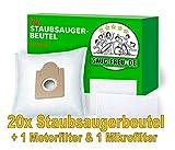 20 Staubsaugerbeutel + 2 Filter geeignet für Aldi, Quigg Compact Home Eco 2, Pro Nature Eco +, Eco 1600, Eco 1600 Watt, Sento Pro, Varia R-Control, Villa 1000, BS 57/5, von SAUG-FREUnDE Made in G