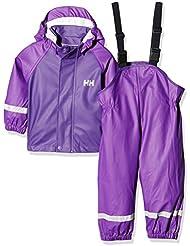 Helly Hansen K Voss Rainset - Conjunto chaqueta y mono con peto y tirantes para niños, color morado, talla 86/1