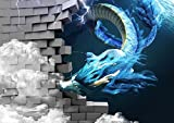 HHCYY 3D Fototapete Drachen Brechen Die Wand Fototapete Wandbild Für Kinderzimmer Cartoon Monster Hintergrund Wand-250cmx175cm