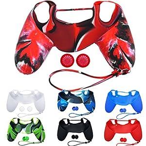 Demiawaking Silikon Schutzhülle Gehäuse + JoyStick Kappe für Sony Playstation 4 PS4 Controller