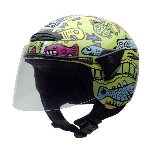 NZI 050017G408 Helix II Jr Motorcycle Helmet, Happy Fish, Size 50-51 (S)
