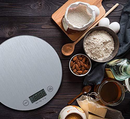 XXL Báscula Digital para Cocina Balanza de Alimentos Multifuncional con Pantalla LCD para Peso de Comida Cocina, 5 kg/1g, Superficie de Vidrio Templado, Plata