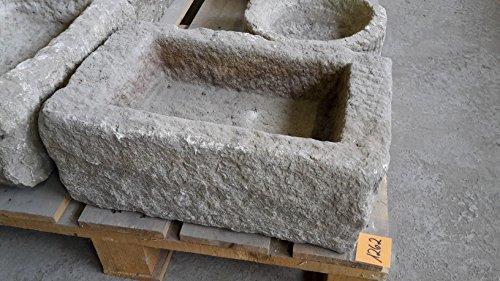 Der Naturstein Garten Alter Trog aus Granit 46 cm lang Brunnen Steintrog - G1262 Granittrog Waschbecken