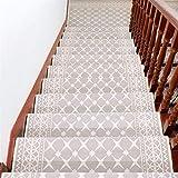 Liveinu Classique Tapis d'escalier Auto-Adhésif Marchette Escalier Moquette Tapis Antidérapante Tapis de Marche pour Marchepied d'escalier Marchepieds Tapis 26x75cm (7 Pack) Rectangle Beige...