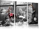 weihnachtlich dekoriertes Fensterbrett B&W Detail 3-Teiler Leinwandbild 120x80 Bild auf Leinwand, XXL riesige Bilder fertig gerahmt mit Keilrahmen, Kunstdruck auf Wandbild mit Rahmen, gänstiger als Gemälde oder Ölbild, kein Poster oder Plakat