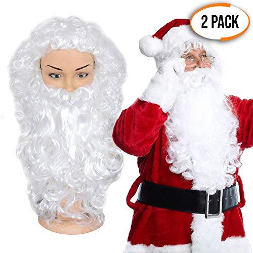 The Twiddlers Confezione con 2 Barbe e 2 Parrucche - Perfetta Costume per Babbo Natale - Ideale Maschera Parrucca, Barba Bianca Uomo per Feste Natalizie