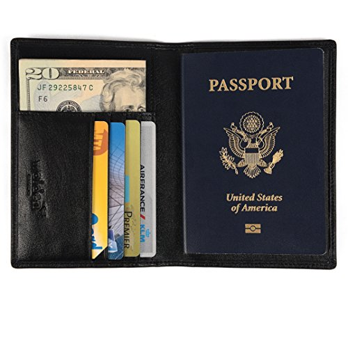 Porta pasaporte / funda de Walden Co. | Organizador de documentos de viaje hombre y mujer con protección RFID, cartera piel en cuero sintético negro y 4 huecos para tarjeta de crédito y billete.