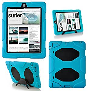 MGG - New Blue Heavy Duty Military Rugged Tough Shock proof Case Stand Cover For Apple iPad 2 / 3 / 4 2nd 3rd 4th Gen Generation With Stylus & Built In Screen Guard