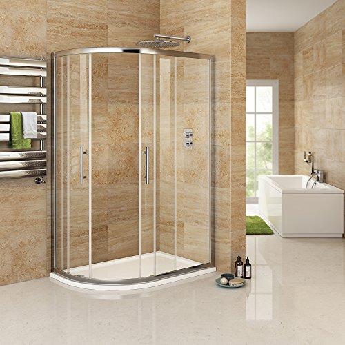 iBathUK 1200 x 900 mm Left Hand Offset Quadrant Easy Clean Shower Enclosure + Tray Set