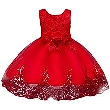 c480b841e36 OBEEII Fille Robe Dentelle Spliced Fleur Décor sans Manches Paillettes Robe  Princesse pour Cérémonie Mariage Demoiselle