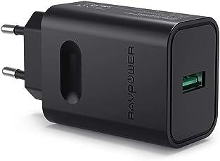 USB Ladegerät RAVPower Quick Charge 3.0 USB Ladeadapter, Schnellladender Mobiler Reise Netzadapter für Samsung Galaxy S9 / S8 / S7 / S6 / Note, iPhone X XS XR XS Max 8 7 6 Plus, iPad, HTC und mehr, Schwarz