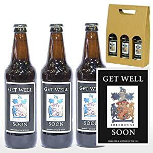Personalised 'Get Well Soon' Yorkshire Ales Trio in a Gold Box - Ideas for Get Well Soon, Family, Friends