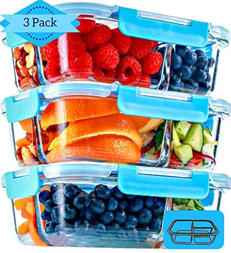 Glas Lebensmittelbehälter mit 3 Fächern und Deckel [3er Pack, 950ml] - Glasbehälter, Glas Mahlzeit Prep Container, Glas-Lebensmittel-Box, Brotzeitboxen, Lunchbox, Frischhaltedosen Luftdicht