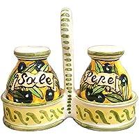 CERAMICHE D'ARTE PARRINI- Ceramica italiana artistica, set sale e pepe decorazione olive, dipinto a mano, made in ITALY Toscana