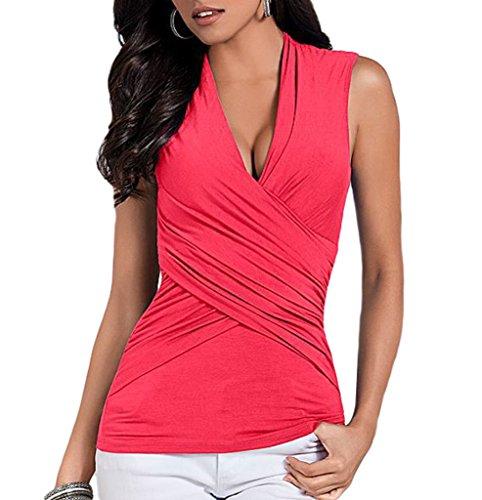 Smile YKK T-shirt Col V Femme Coton Chemise Sans Manche Top Uni Soirée Cocktail Cérémonie Croisé Rose Rouge
