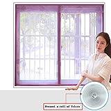 Silk Road Velcro-Fenster-Bildschirm Magnetische Weiches garn Vorhang Moskito Mute Verschlüsselung Für Schlafzimmer Küche Siebgewebe-Lila 180x120cm(71x47inch)