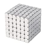 5mm 216pcs Magnetic Cubes, 3D DIY Magnetic Rubik's Cube, Magic Magnetic Square Cube Puzzle Toy, Intelligence develop and Stress Relief Magnet Block, Perfect Home/Office Desk Gadget/Décor, 1.2*1.2*1.2 Inch (Silver)
