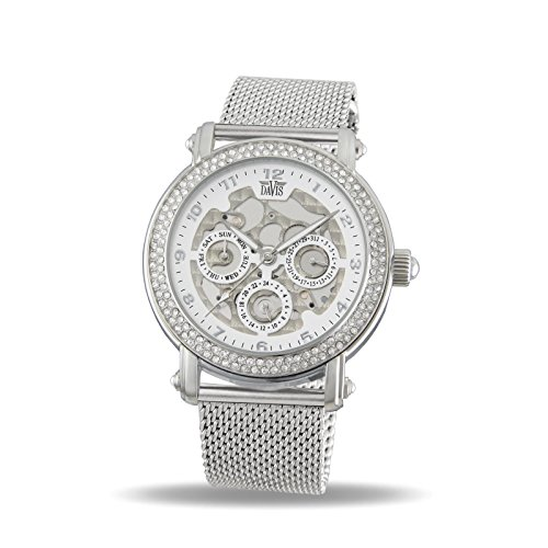 Davis 1810MB - Womens Crystal Watch Skeleton Clear Swarovki Rhinestone Day Date Mesh Milanese Strap