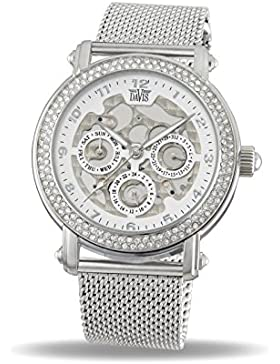Davis 1810MB - Damen Strass Uhr Kristall Swarovski Skelett Ziffernblatt Tag Datum Mesh Armband