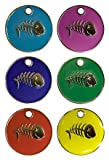 Personalised Engraved 20mm Enamel Pet ID Tag Cat Fish Design