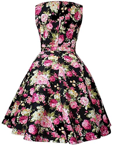 jeansian Damen Vintage Retro Flower Printing Sleeveless Swing Skater Pleated Evening Cocktail Party Dresses WHS220 Black