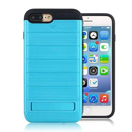 """iPhone 7 Plus Coque,Lantier 2 en 1 Wallet Series Texture de métal brossé Housse de protection rigide avec Kickstand et slot de carte de crédit pour iPhone 7 Plus 2016 5.5"""" Grau Brushed Texture Blue"""
