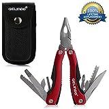 Gelindo Herramienta Premium Multiuso con funda, cuchillo, alicates, sierra y mucho más (Rojo)
