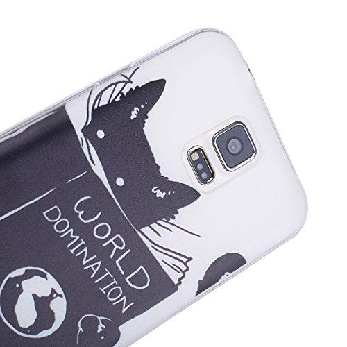 Galaxy S5 Soft Silicone Tpu Coque Mode,Transparent Coque pour Samsung Galaxy S5 Neo,Ekakashop Ultra Mince Jolie Vous Avertir Design Souple imprimée Etui Housse de protection Cristal Clair Gel Case Pre Sombre Chat