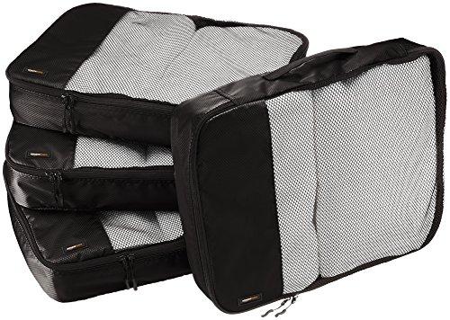 AmazonBasics Lot de 4sacoches de rangement pour bagage TailleL, Noir