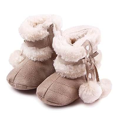 Gosear Neonato Inverno Caldo Morbido Cotone Scarpe Stivali Natale Stivali Taglia S per 0-6 Mesi i Bambini Vecchi Chiaro Kaki