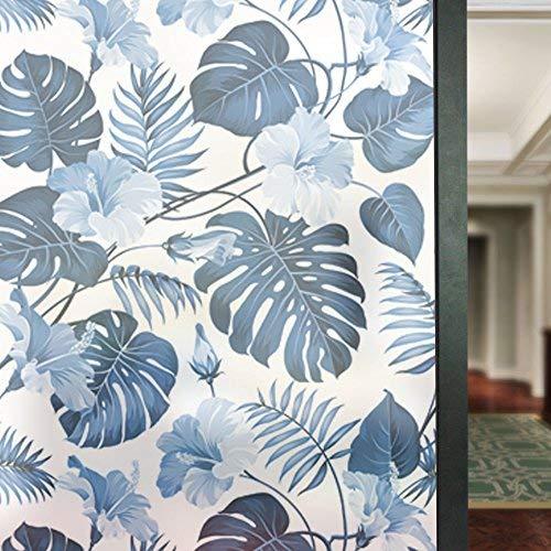 HyFanStr Selbstklebend Glas Aufkleber Sichtschutz Fensterfolie Sichtschutzfolie Frosted Fensterblätter Decor Statische Art Deco 22.8 x 70.8 inches Blau -