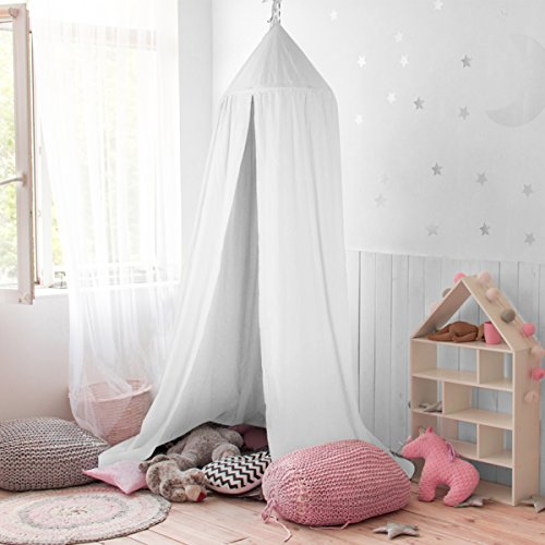 Baldachin , JELEGAN Kinder Bett Kuppel Baumwoll Betthimmel Moskitonetz Spiel Zelt Gut für Baby Innen im Freienspiel Lese Schlafzimmer Ankleidezimmer Höhe 240cm (weiß) (Vordach Zubehör)